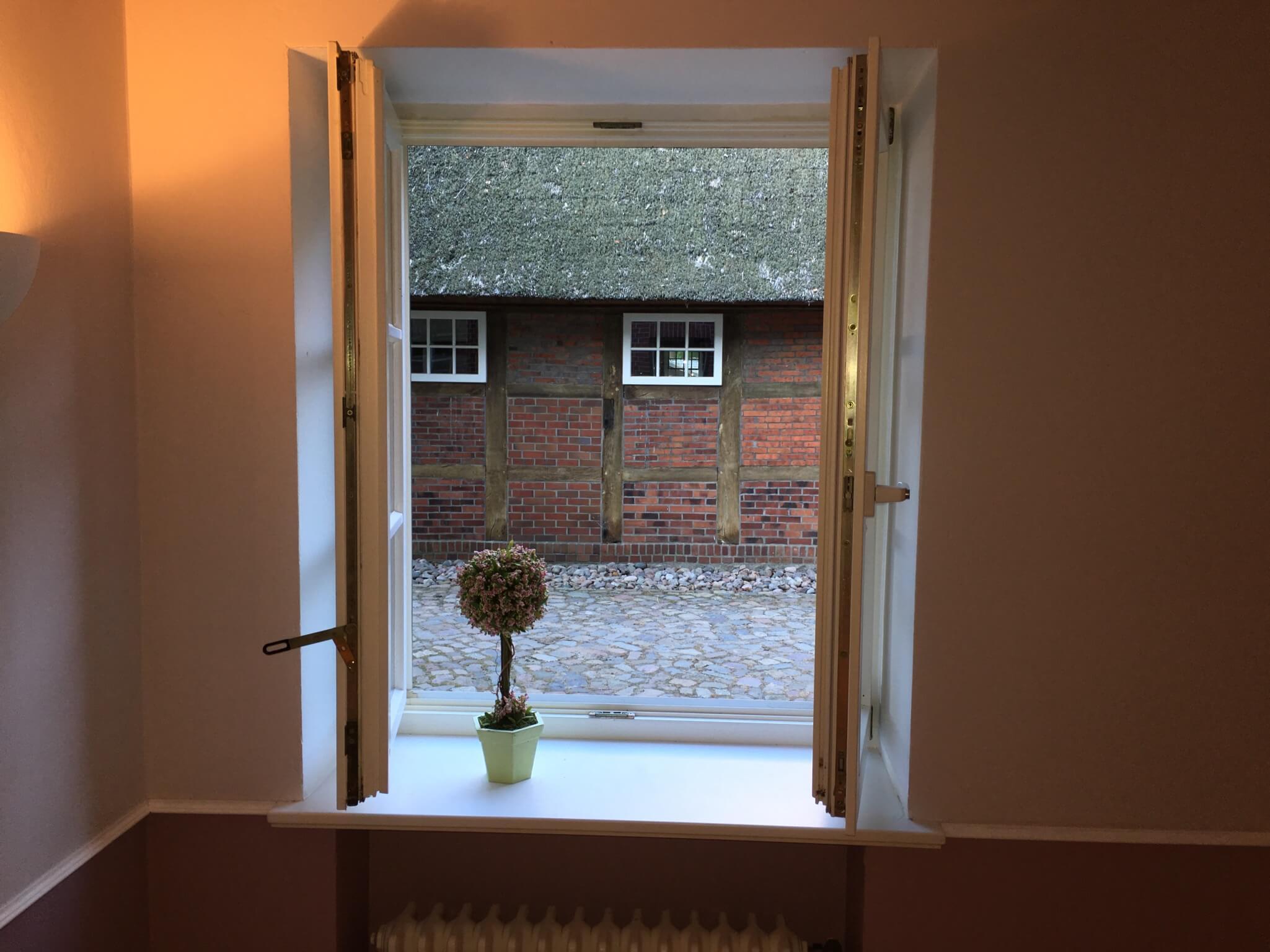 Ausblick aus dem Fenster aus der Ferienwohnung Cossma