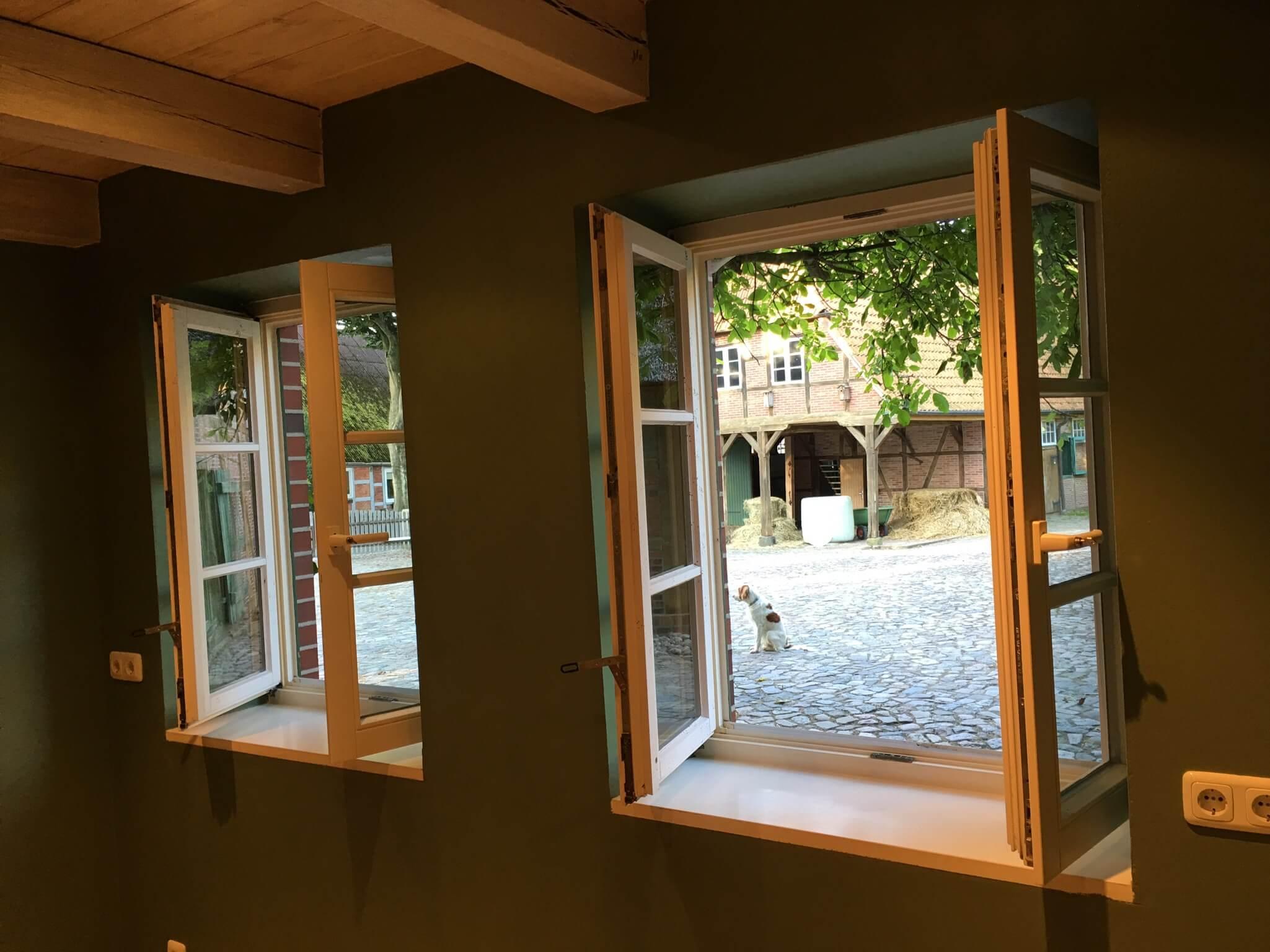 Blick auf die Hofstelle des Reiterhofs aus der Ferienwohnung Moritz